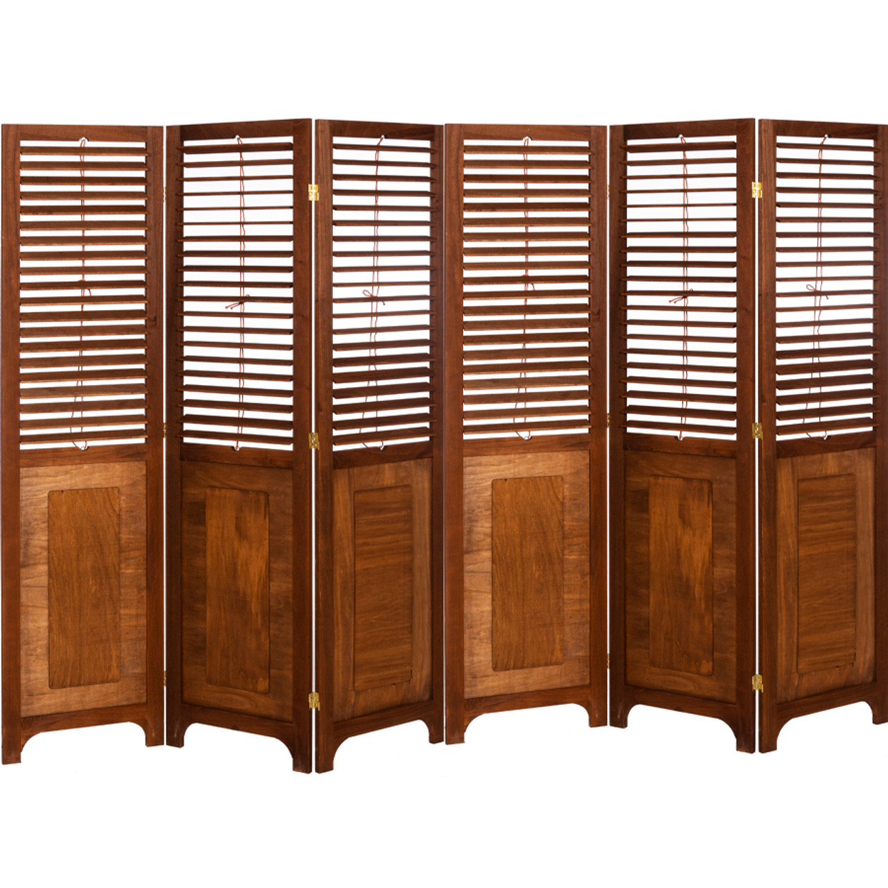 3 or 6 Panel Solid Wood Screen Room Divider with Adjustable Shutters on Top Half, Walnut Brown Color