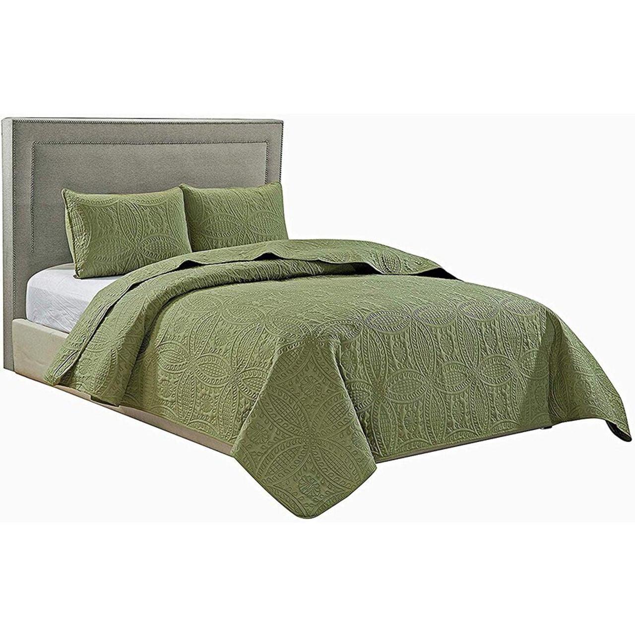 Bedding Bedspread Coverlet 3 Pcs Set Oversize Queen Or King Size 8 Colors Home Garden Mbln Org