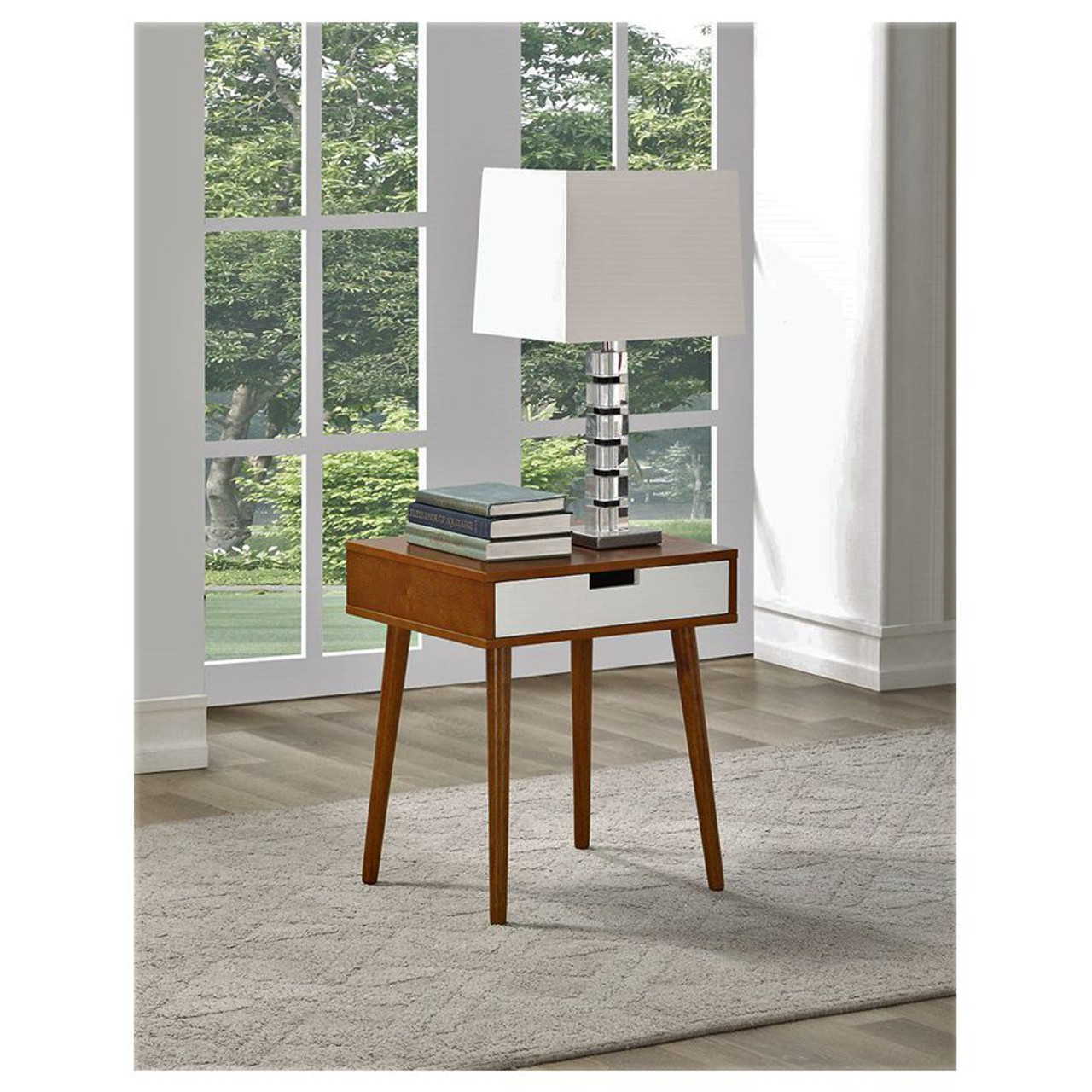 Walnut Color Hardwood End Table, Night Stand with Drawer