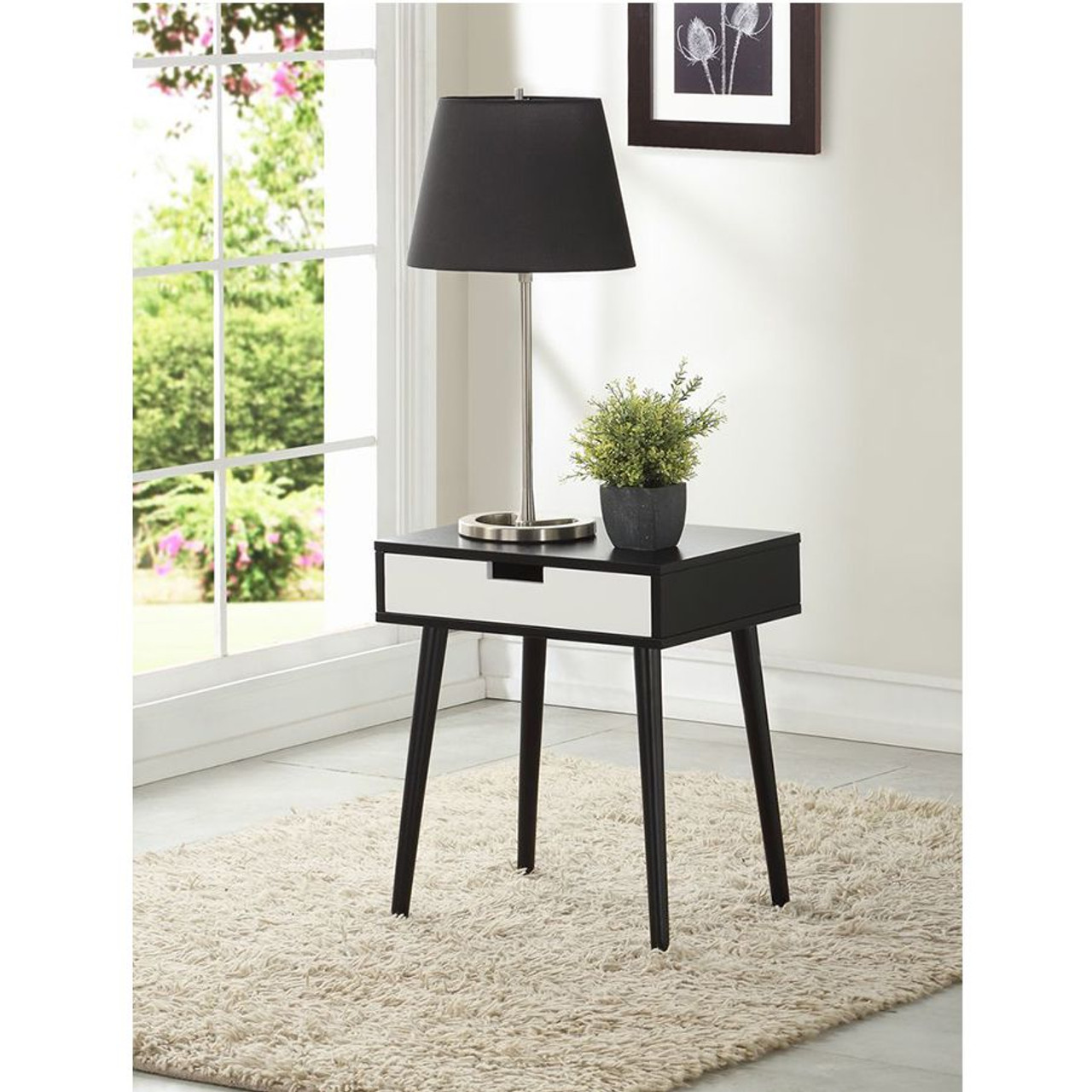 Black Color Hardwood End Table, Night Stand with Drawer