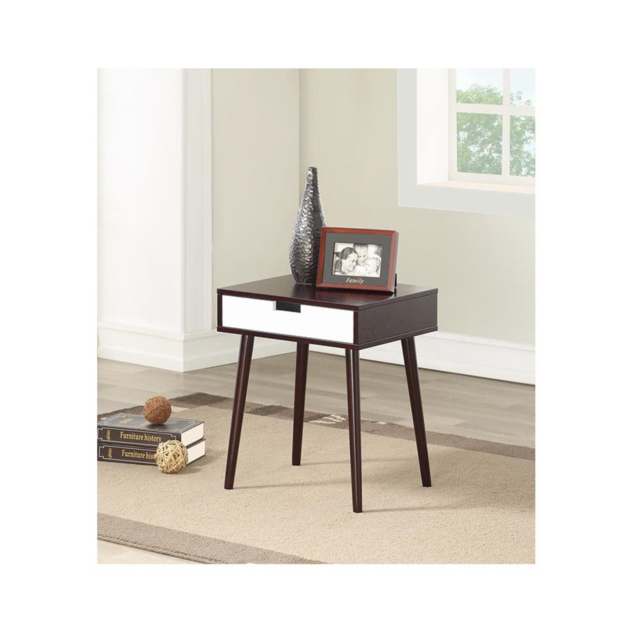 Espresso Color Hardwood End Table, Night Stand with Drawer
