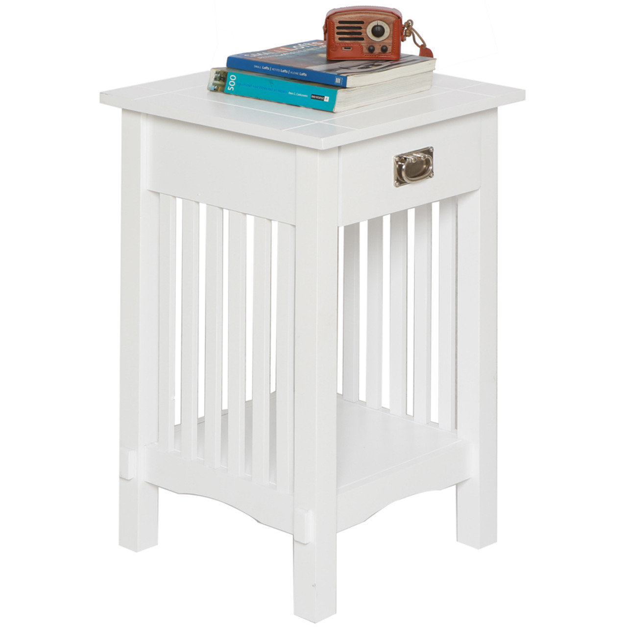 Mission Style Telephone Stand / End Table in Antique Oak, Black, or White Finish w/ Drawer