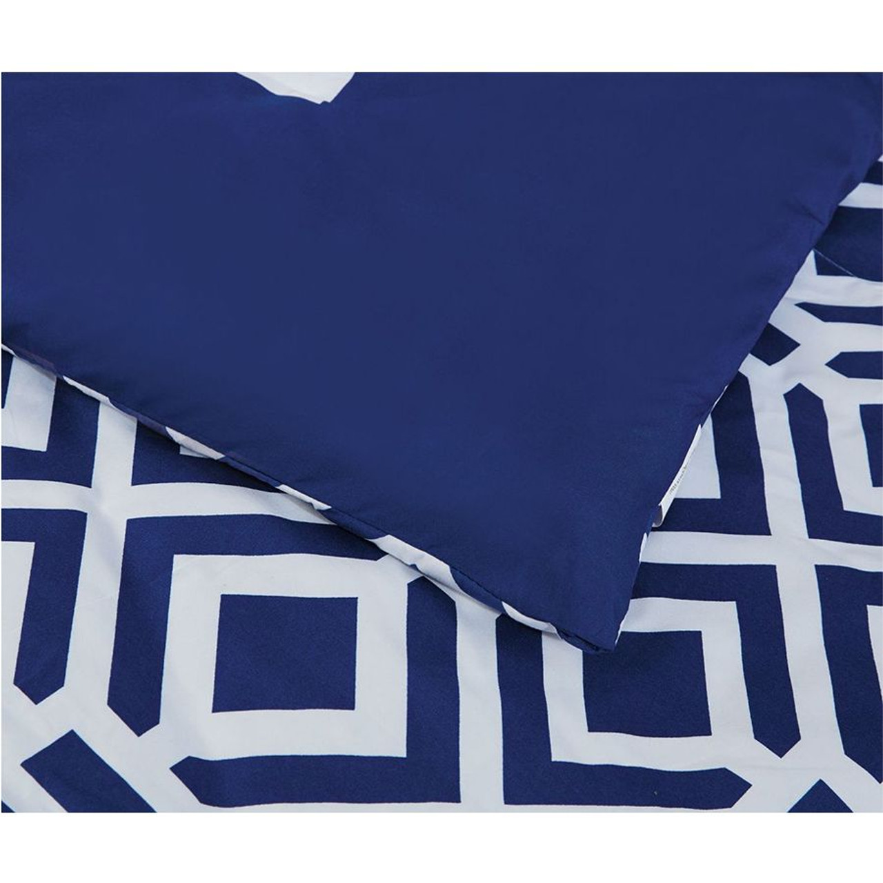 Comforter Flat & Fitted Sheets set 8 pcs Soft Microfiber Navy Blue and White King Size by Legacy Decor
