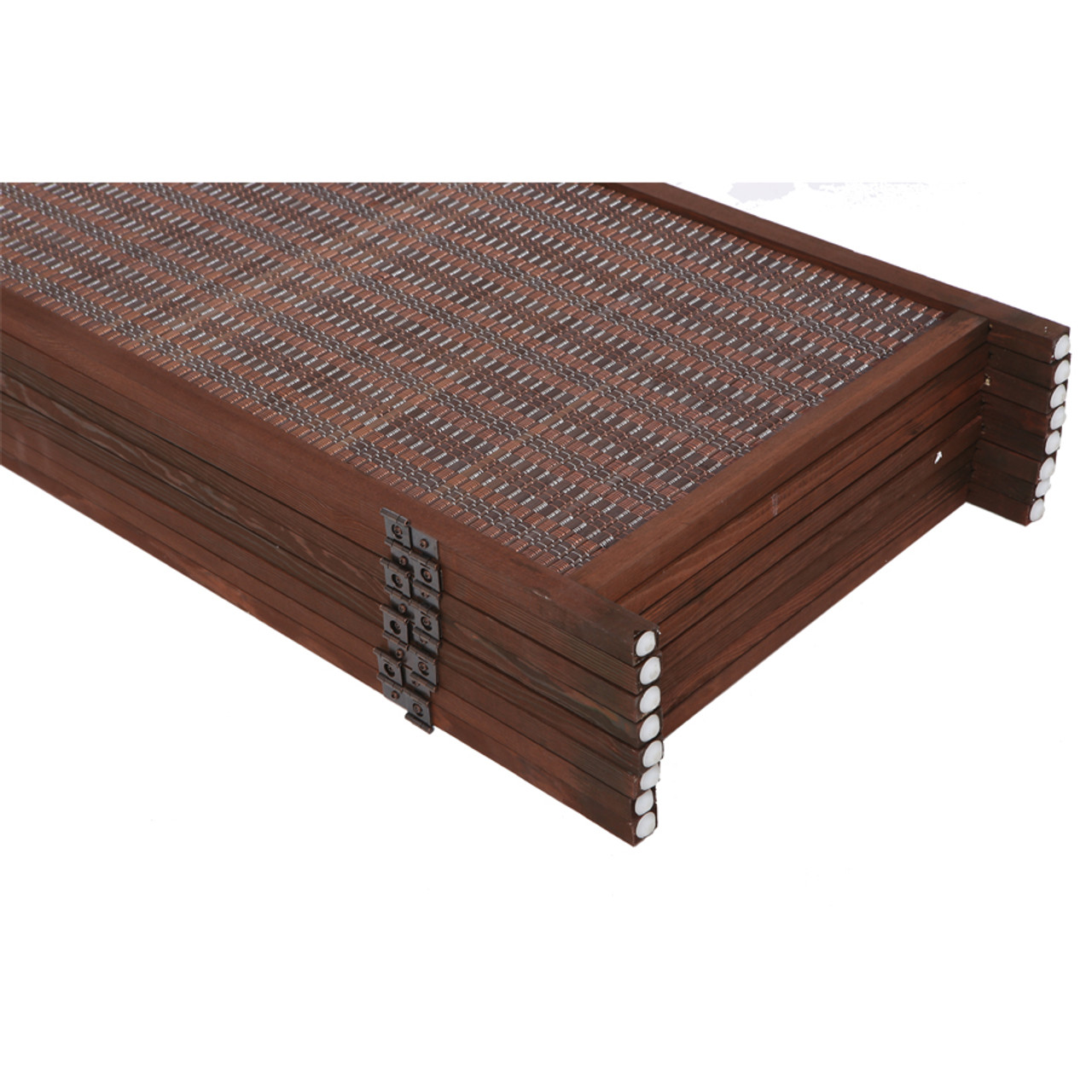6 Panel Natural, Brown, or Black Color Wood and Bamboo Weave Room Divider