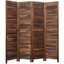 4 6 8 Panel Room Divider Full Length Wood Shutters Brown