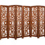 3 or 6 Panel Solid Wood Screen Room Divider, Walnut Brown Color With Decorative Floral Cutouts