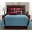 7 pc Micro Suede Striped Comforter Set with Button Accents