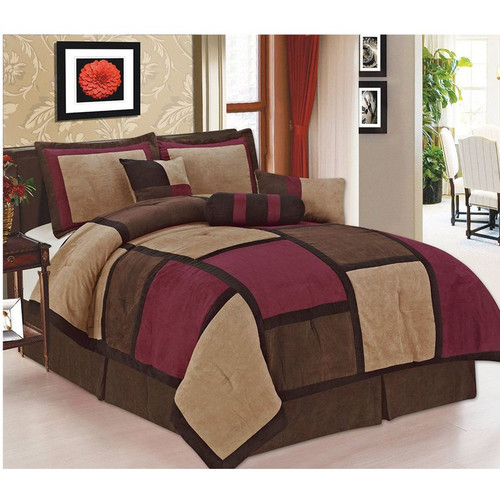 Burgundy or White Brown and Black Suede Patchwork Comforter Set//Bed-In-A-Bag