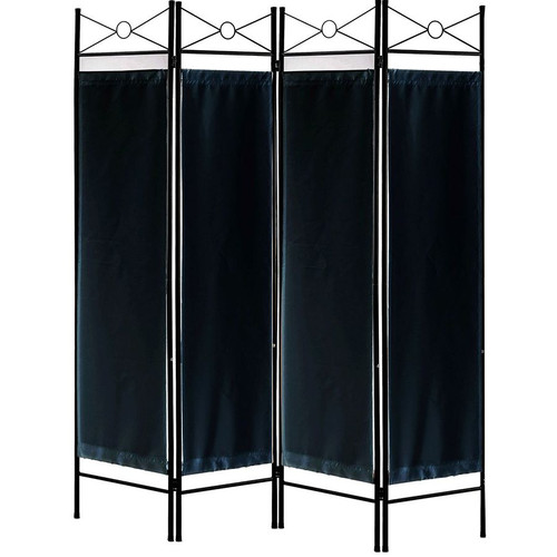 Legacy Decor 3 and 4 Panel Fabric in-Lay Wooden Screen Room Divider Natural Finish