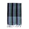 Green & Black Stripe Muslin Cotton scarf
