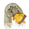 Khaki Organic Cotton Scarf and Jewellery gift pouch set