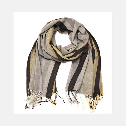 Charcoal Striped Scarf  - Grey and Cream