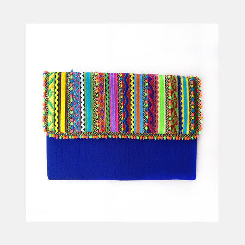 Rabari Flat Clutch- Blue