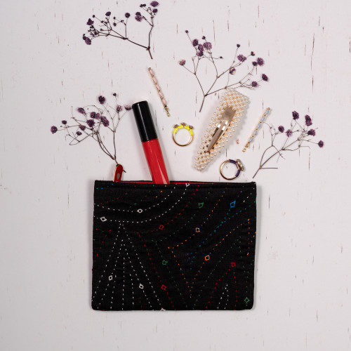 Black Coin Purse- Hand Embroidered