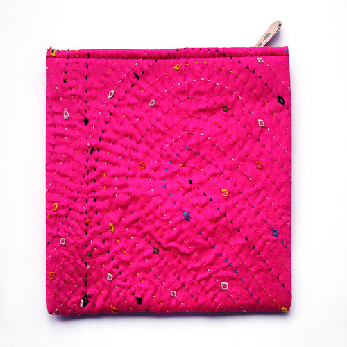 Coin Purse- Fuschia Hand Embroidered