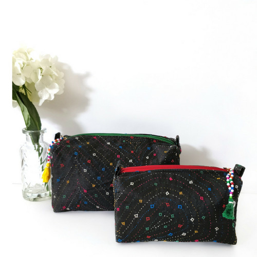 Make Up Pouch and Wash Bag- Black Hand Embroidered Pack of Two