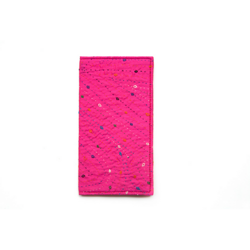 Pink Hand Embroidered Slim Wallet