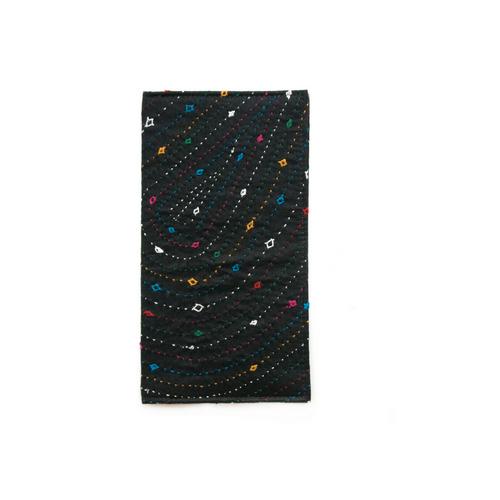 Vegan Black Hand Embroidered Slim Wallet