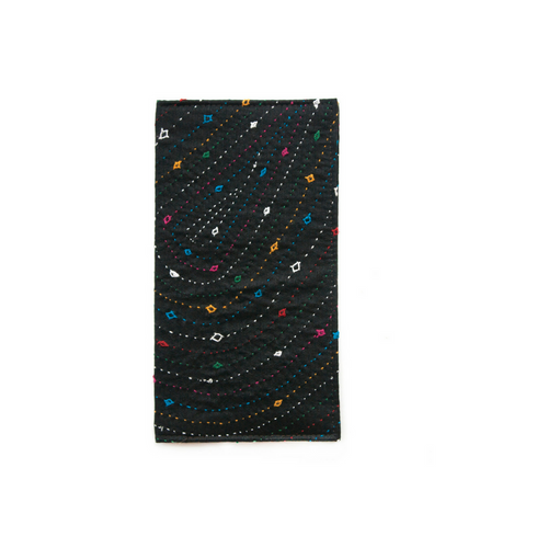 Black Hand Embroidered Slim Wallet