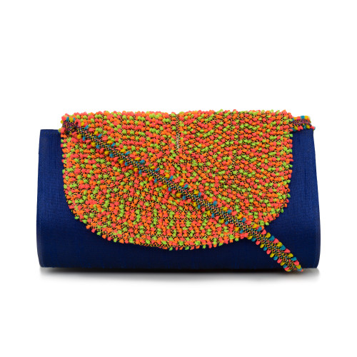 Vegan  Blue Kutch Clutch Bag