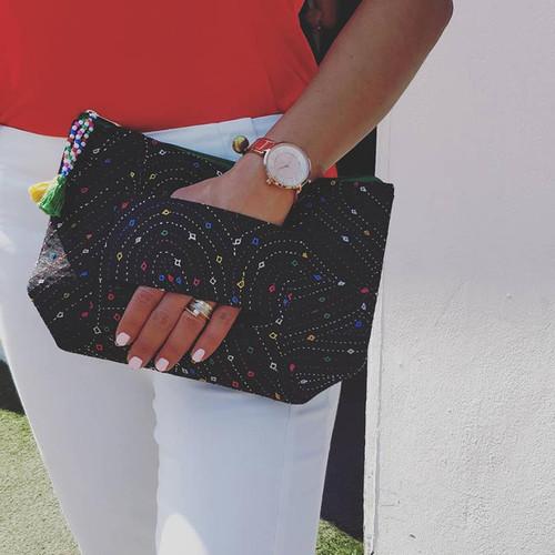 Black Vegan Hand Handled Embroidered Clutch Bag