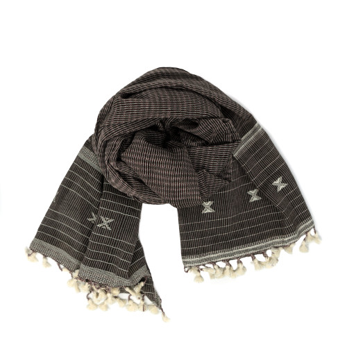 Two Tone Brown and Black Cotton Scarf