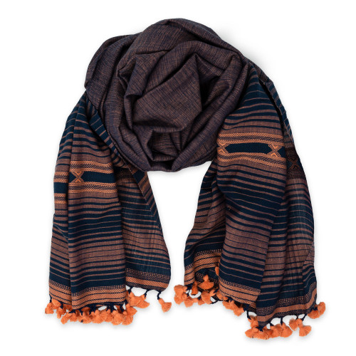 Forest - Peach and Blue Unisex Scarf