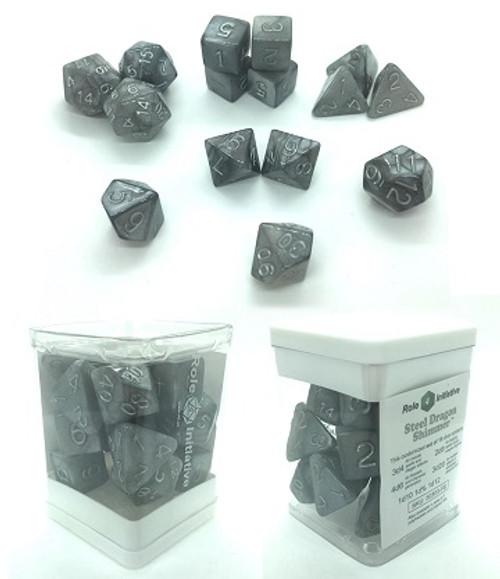 Roll 4 Initiative 15 Dice Set: Steel Dragon Shimmer