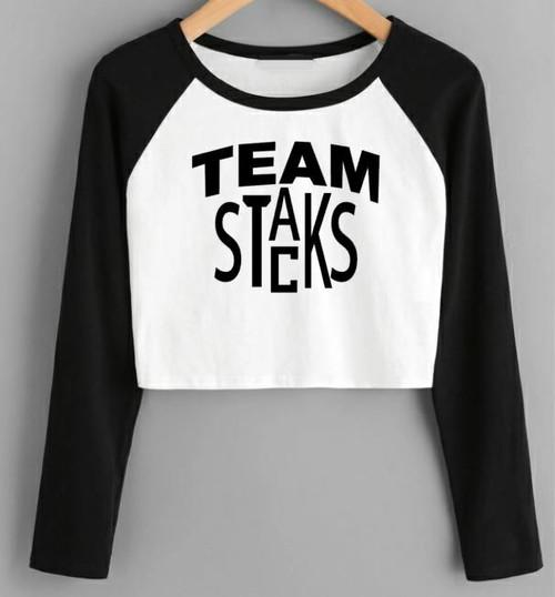 Team Stacks Crop Baseball Tee