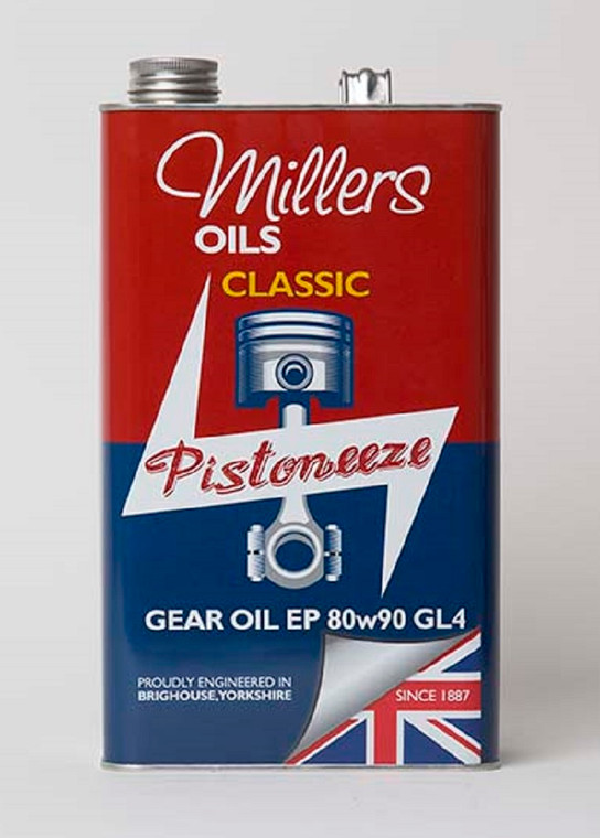 Millers Oils Classic Pisoneeze.  Gear Oil EP 80w90 GL4 for classic transmissions. High quality solvent refined mineral base stocks with performance additives.