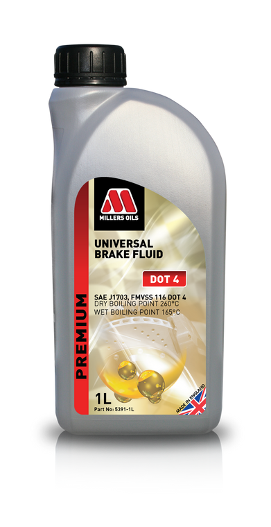 Universal Brake Fluid DOT 4 is a high boiling point brake fluid meeting current requirements of SAE J 1703 and FMVSS 116 DOT 4.