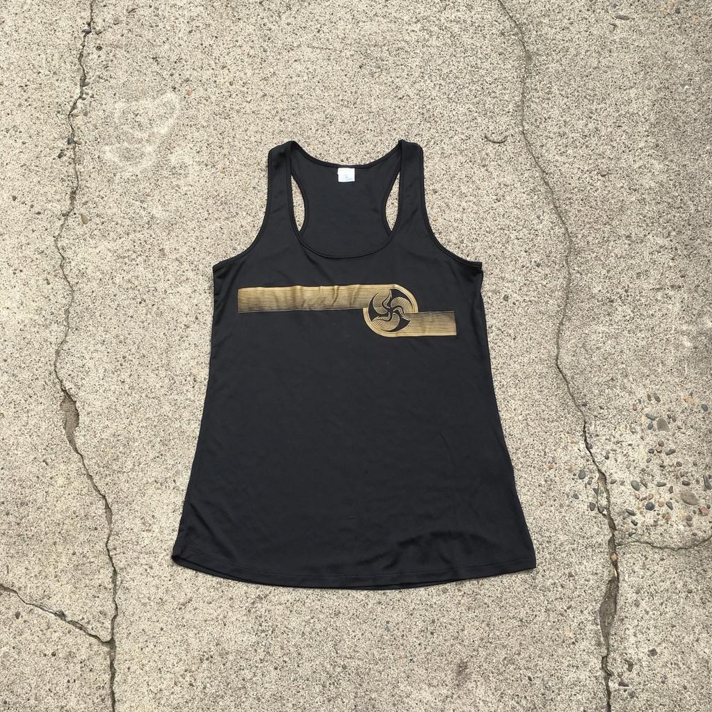 Huk Lab Hypno Tank Black/ gold print front