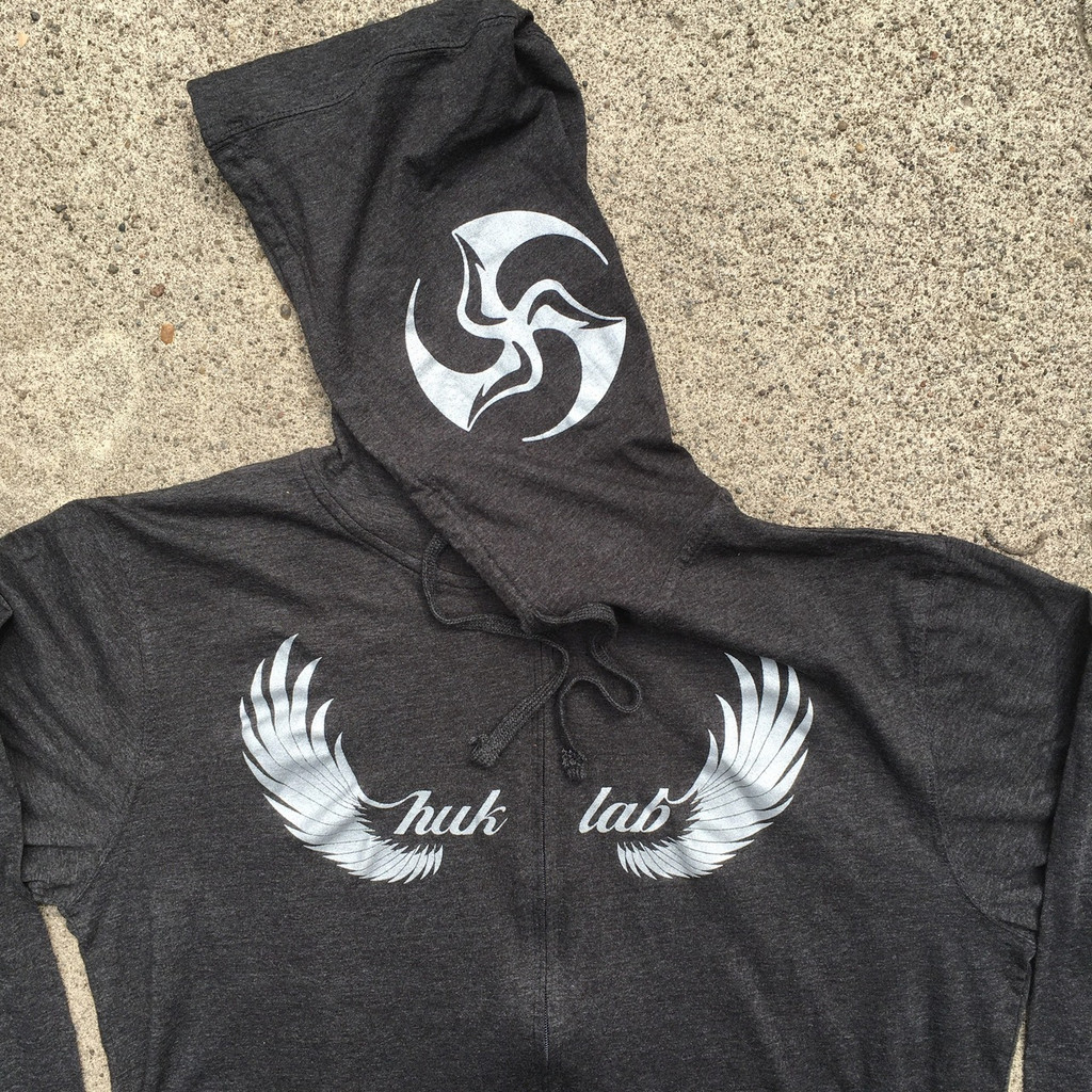 Huk Lab HukWing Ultralight Hoodie front and hood graphics