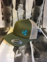 TriFly embroidered Retro Hucker Hat olive green crown/ khaki mesh