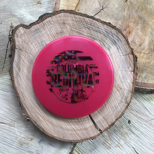 Innova Champion XD pink with a rainbow Columbia Rediviva stamp