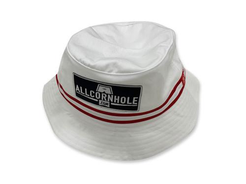 AllCornhole White Bucket Hat - Free Shipping