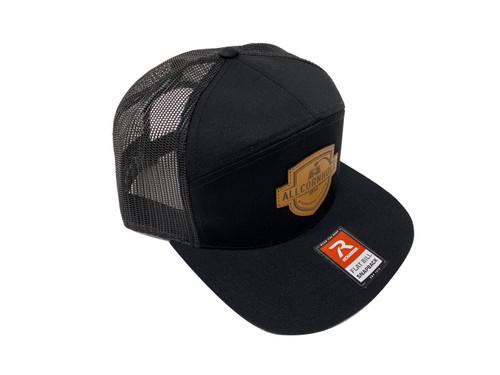 AllCornhole Flat Bill Black Snapback Hat with shield - Free Shipping