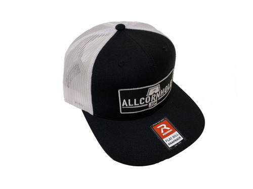 AllCornhole Flat Bill Black/White Snapback Hat with patch - Free Shipping