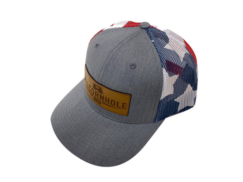 AllCornhole Curved Bill Stars/Stripes Snapback Hat with Leather patch - Free Shipping
