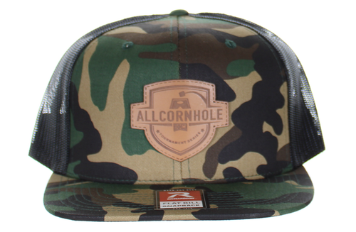 AllCornhole Flat Bill Black Snapback Hat Black/Camo with Leather Shield patch - Free Shipping