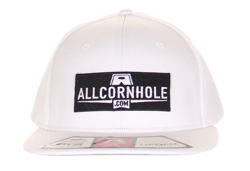 AllCornhole FlexFit Hat - White/Black Patch - Free Shipping