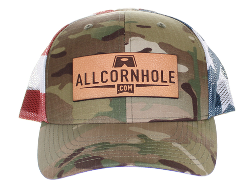 AllCornhole Curved Bill Camo/USA Snapback Hat with patch - Free Shipping