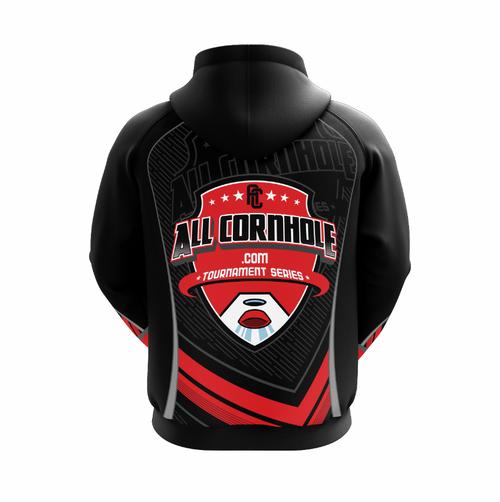 Black AllCornhole.com Hoodie - Full Dye Sublimation