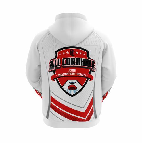 White AllCornhole.com Hoodie - Full Dye Sublimation