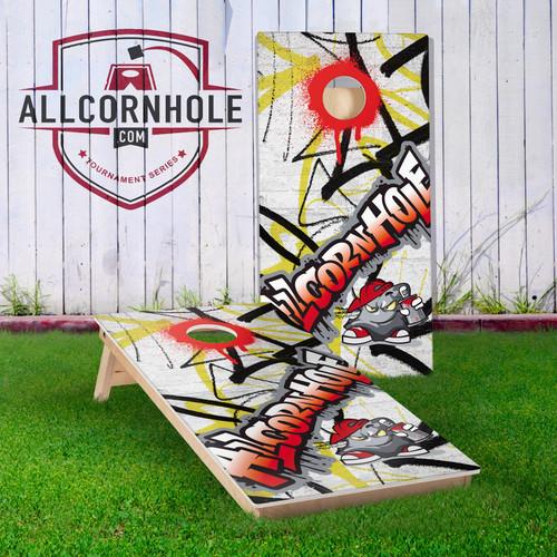 Graffiti Design Cornhole Boards - RED