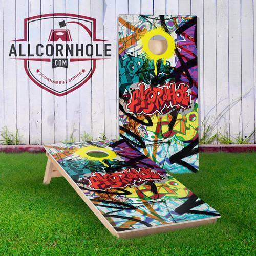 Graffiti Design Cornhole Boards - YELLOW
