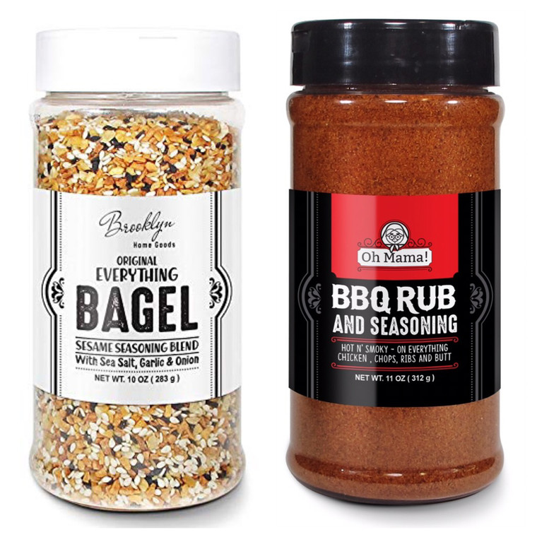 Everything Bagel Seasoning Blend (2-Pack) Bundle, Oh Mama! The BBQ Rub & Bagel Sesame Seasoning Blend in 10 oz Spice Shaker Bottles, Tasty Bagel Allspice & The BBQ Spices Seasoning Shakers for Cooking