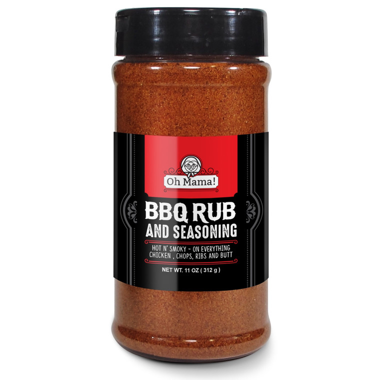 Oh Mama! BBQ Rub Savory Blend the Killer Rub great on Hogs Chicken Pork Chops Steaks Ribs Brisket Butt - Best Barbecue Butt Rub - Meat Seasoning and Spice Dry Rub - XL 11 oz Shaker Bottle