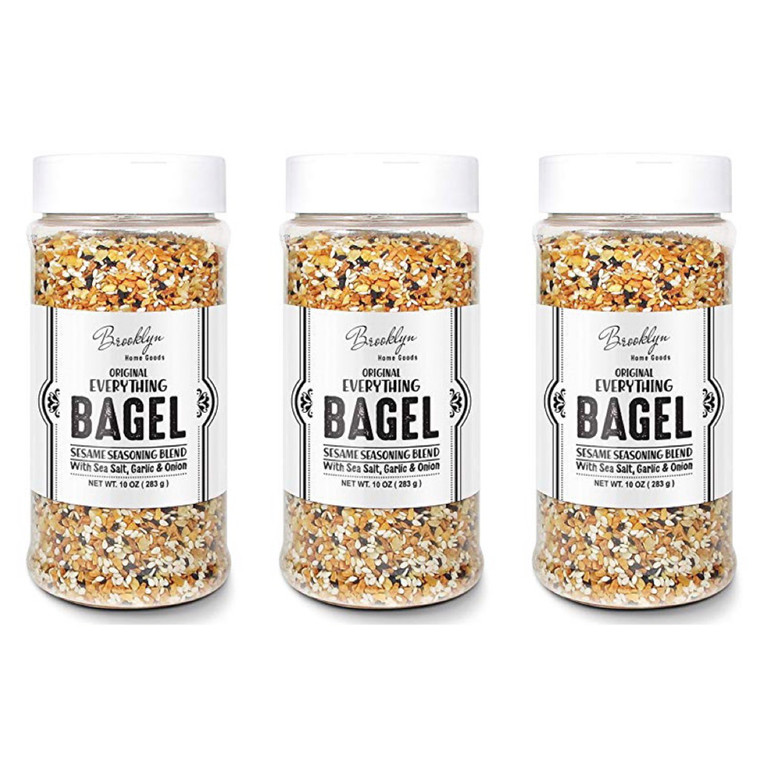 3 XL Bottles Everything Bagel Seasoning Blend 10 OZ each Bagel Allspice, Sesame Seasoning Spice Shaker, Delicious Blend of Sea Salt and Spices Sesame Garlic Powder Onion Flakes, Multi Seasoning Shaker
