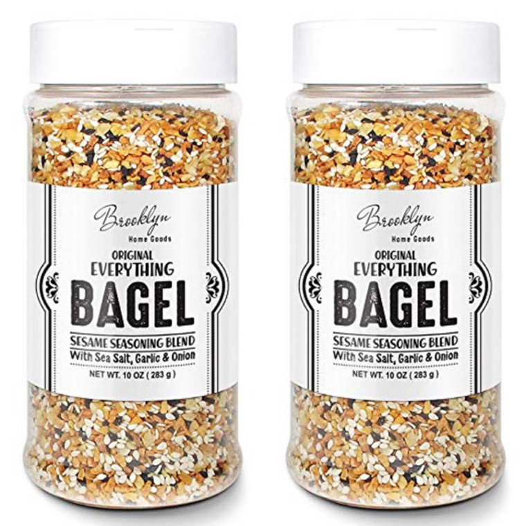2 XL Bottles Everything Bagel Seasoning Blend 10 Ounce Bagel Allspice, Sesame Seasoning Spice Shaker, Delicious Blend of Sea Salt and Spices Sesame Garlic Powder Onion Flakes, Multi Seasoning Shaker
